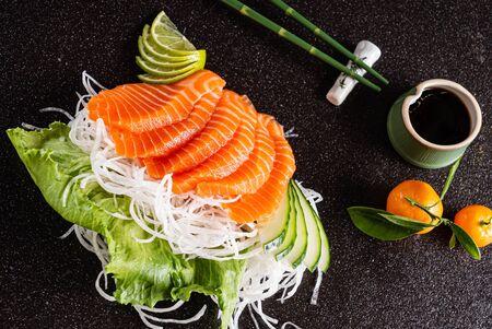 sashimi on the black background Stock Photo