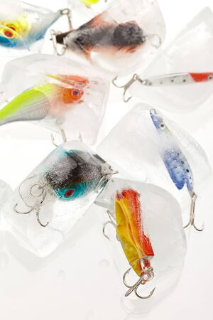 Fishing lures on white