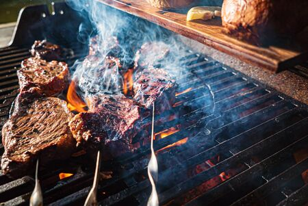 Grilled meat on the fire