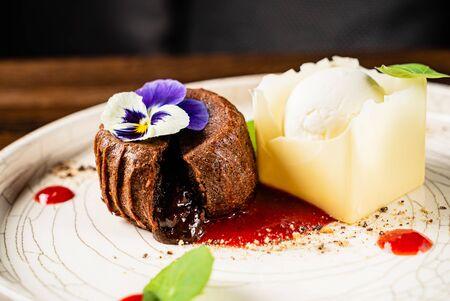 Chocolate cake with ice cream