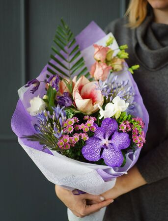 Beautiful bouquet in the hands Stock Photo