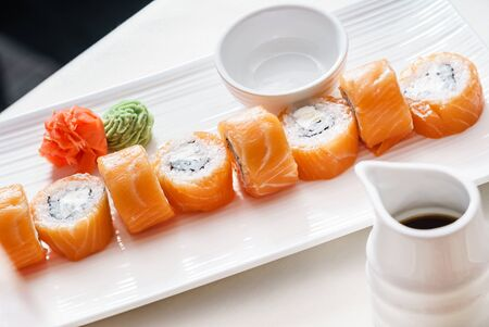 Sushi set on white plate