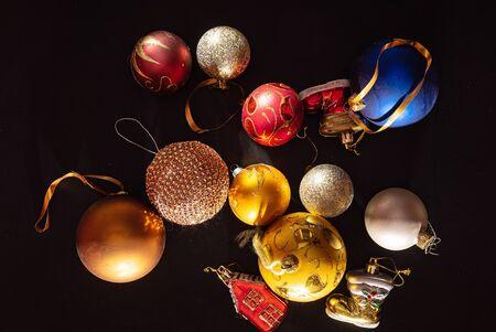 Christmas balls on the black