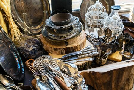 Vintage silver dishes Imagens