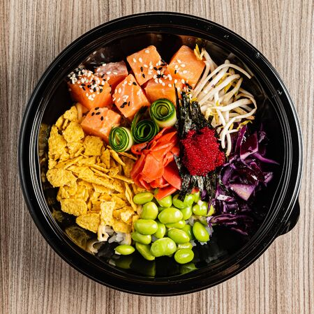 poke bowl, top view for menu