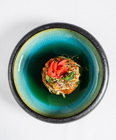 eel tartare with ginger and sesame seeds