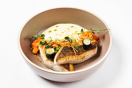 fish with mashed potato and vegetables