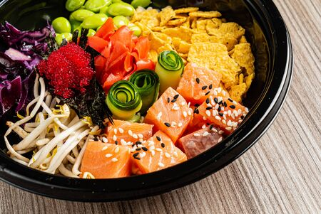 poke bowl, top view for menu