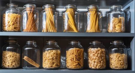 different kinds of pasta in the jars