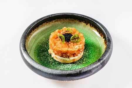 salmon tartare with black caviar