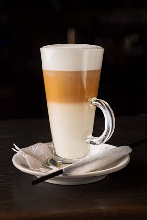 foamy layered hot coffee drink latte  写真素材