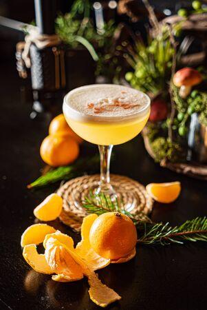 Christmas mandarin mocktail in the bar Stock fotó