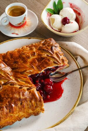 pie with cranberries and ice cream