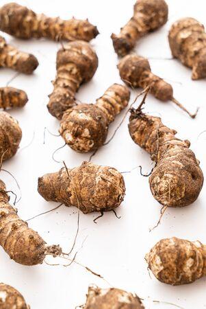 organic Jerusalem Artichokes on the white background