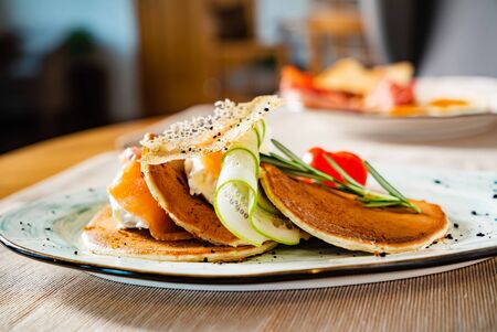 pancakes with cream cheese and salmon