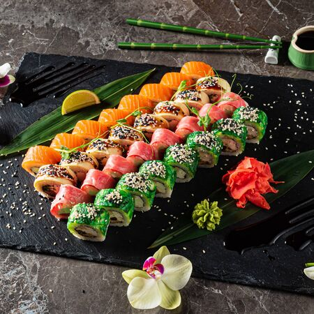 sushi on the marble background
