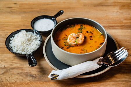 soup with rice and shrimps