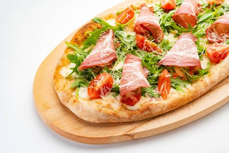 tasty pizza on the white background