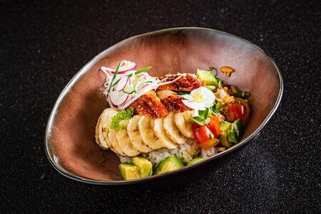 poke bowl with eel and banana