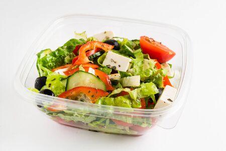 greek salad in the plastic box