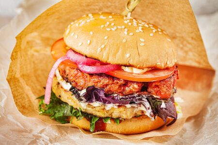 fresh burger with cutlet and vegetables
