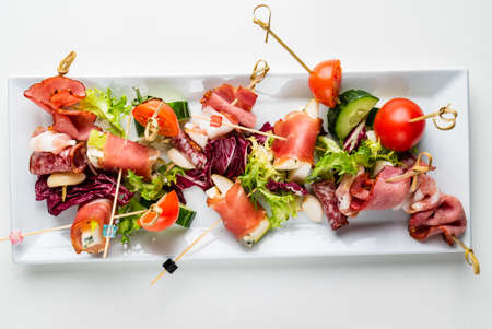 Delicious appetizers at served table in restaurant.