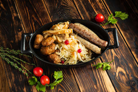 traditional germany dish on the wooden background