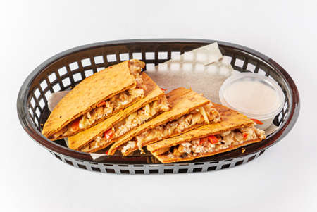 Philly Cheesesteak Quesadilla with sauce