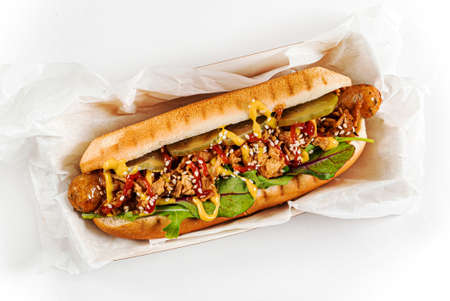 hot dog on the white background Foto de archivo