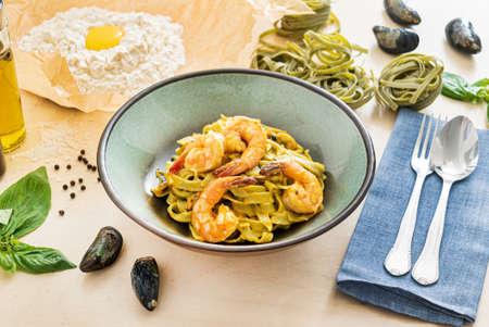 fresh pasta in the italian restaurant