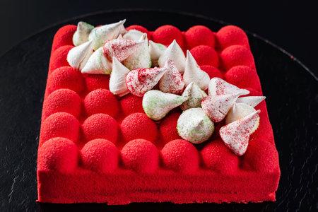 red velvet cake on the black background