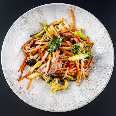 noodles with meat and vegetables