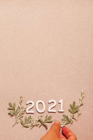 New Year card with plants