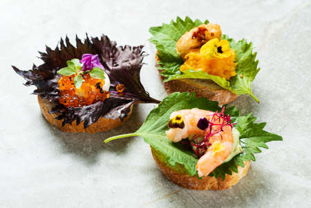 Gourmet canape with cheese and herbs Archivio Fotografico