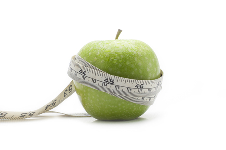 diameter: Green apples with the measure Stock Photo