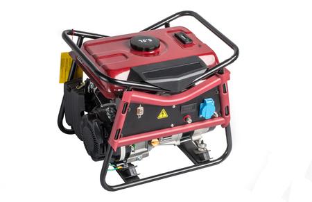 benzin: Portable benzin generator. isolated white background > Elelectric AC generator isolated on white Stock Photo