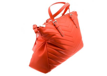 Red handbag white background Stock Photo