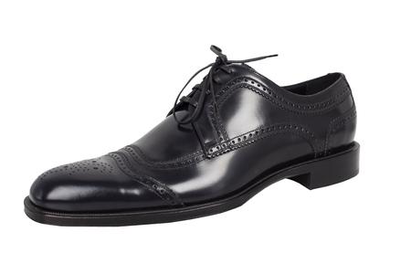 Elegant black shoes on a white background. Stock Photo