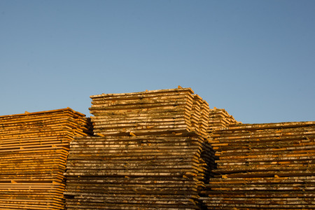 Sawmill. A pile of boards in a sawmill Stock Photo