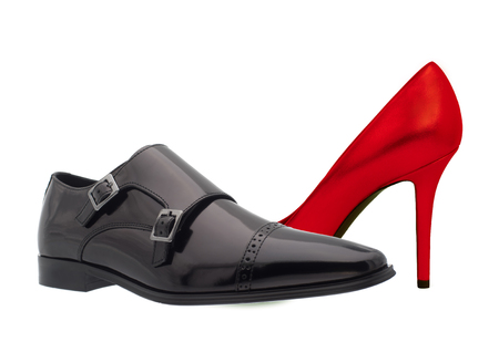 Black and red shoe. Mens and womens footwear. Red and Black boot. Womens and Mens footwear.