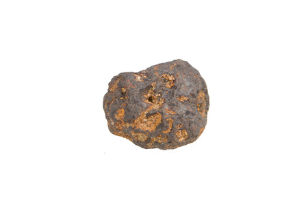 Smple of iron ore on white background. Iron ore isolated, white background.