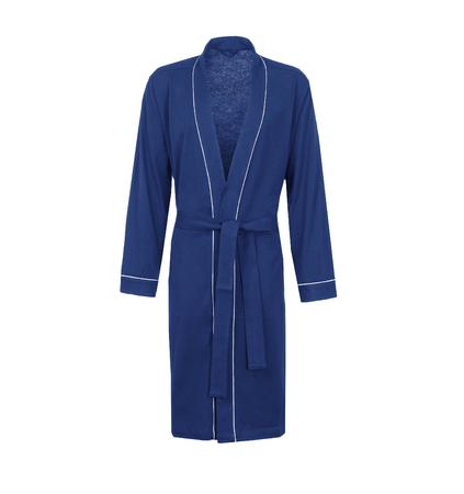 Blue bathrobe, isolated. Male housecoat on white background. Фото со стока