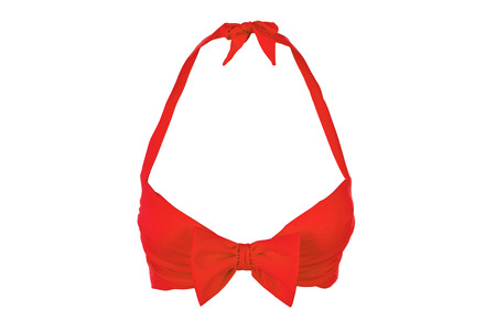 Romantic red bra, isolated. Sex red bra with bow.