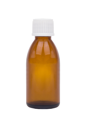 Brown medicine glass bottle isolated over white. Single brown bottle with drug. Zdjęcie Seryjne