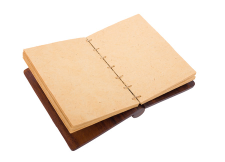Vintage grunge open notebook. Open old blank book isolated on white. Banco de Imagens - 107706486
