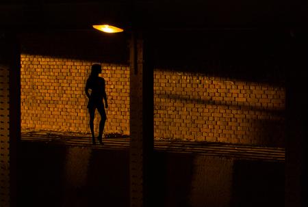 Der Schatten eines auf der Mauer. Mädchen wartet nachts unter der Lampe auf den Kunden. Standard-Bild