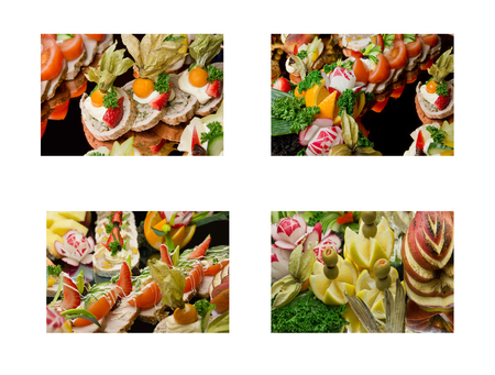 Exquisite and appetizing food sets - salads, dinner dishes.Beautiful collection of meals, dishes - tasty