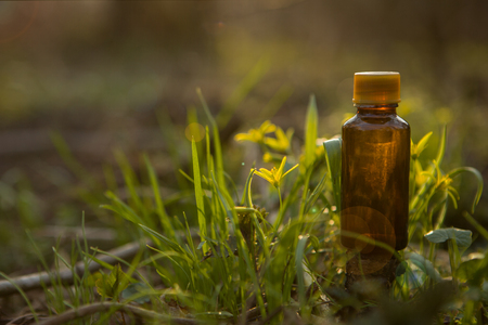Bach - floral therapy. Alternative medicine. Health - a bottle with natural herbs.