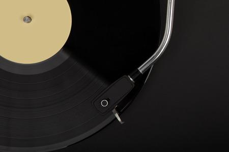Record player with phonorecord - black. Фото со стока