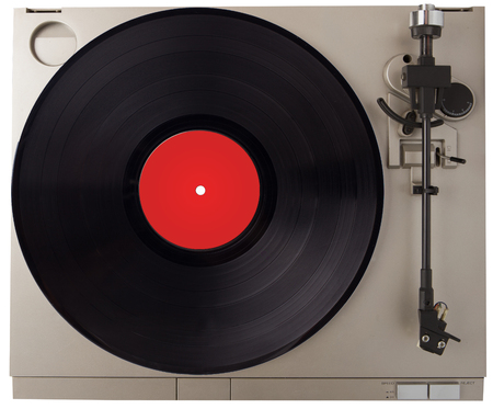 Turntable on a white background. Vintage  record player with vinyl disc. Stock Photo